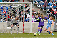 Bridgeview, IL, USA - Sunday, May 1, 2016: Orlando Pride forward Alex Morgan (13) moves toward the goal while Chicago Red Stars goalkeeper Alyssa Naeher (1) and defender Arin Gilliland (3) defend during a regular season National Women's Soccer League match between the Chicago Red Stars and the Orlando Pride at Toyota Park. Chicago won 1-0.