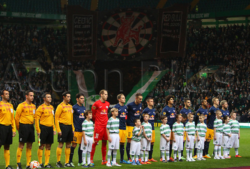 27.11.2014. Glasgow, Scotland. Europa League Group Stages Qualifying Round. Celtic versus FC Red Bull Salzburg. FC Red Bull Salzburg pre match line up