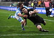 9th September 2017, Yarrow Stadium, New Plymouth. New Zealand; Supersport Rugby Championship, New Zealand versus Argentina; Nehe Milner-Skudder scores a try