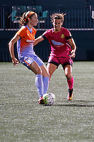 Rochester, NY - Saturday Aug. 27, 2016: Janine Beckie, Elizabeth Eddy during a regular season National Women's Soccer League (NWSL) match between the Western New York Flash and the Houston Dash at Rochester Rhinos Stadium.