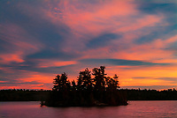 Island in Crow Lake at sunset<br />