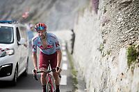 Marco Haller (AUT/Katusha-Alpecin) up the Tourmalet (HC/2115m/19km @7.4%)<br /> <br /> Stage 14: Tarbes to Tourmalet(117km)<br /> 106th Tour de France 2019 (2.UWT)<br /> <br /> ©kramon