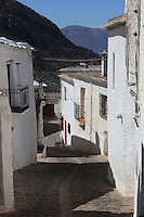 Houses along a steep street with mountains in distance, Bubion, gorge of the Poqueira river, Alpujarra, Andalucia, Southern Spain. Moorish influence is seen in the distinctive cubic architecture of the Sierra Nevada's Alpujarra region, reminiscent of Berber architecture in Morocco's Atlas Mountains. Photograph by Manuel Cohen.