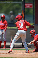 Philadelphia Phillies Nicolas Torres (19) during an Minor League Extended Spring Training intrasquad game on April 24, 2019 at the Carpenter Complex in Clearwater, Florida.  (Mike Janes/Four Seam Images)