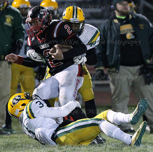 Farmington Hills Harrison defeats Linden 34-21 in regional final football action Friday, Nov. 10, 2017. Photos: Larry McKee, L McKee Photography. PLEASE NOTE: ALL PHOTOS ARE CUSTOM CROPPED. BEFORE PURCHASING AN IMAGE, PLEASE CHOOSE PROPER PRINT FORMAT TO BEST FIT IMAGE DIMENSIONS. L McKee Photography, Clarkston, Michigan. L McKee Photography, Specializing in Action Sports, Senior Portrait and Multi-Media Photography. Other L McKee Photography services include business profile, commercial, event, editorial, newspaper and magazine photography. Oakland Press Photographer. North Oakland Sports Chief Photographer. L McKee Photography, serving Oakland County, Genesee County, Livingston County and Wayne County, Michigan. L McKee Photography, specializing in high school varsity action sports and senior portrait photography.