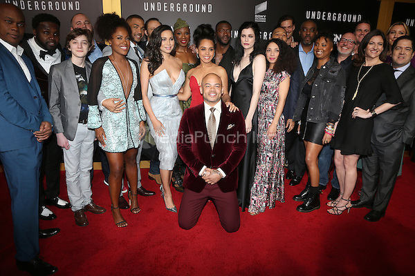 "WESTWOOD, CA - February 28: DeWanda Wise, Jurnee Smollett-Bell, Amirah Vann, Jessica De Gouw, Aldis Hodge, Aisha Hinds, Christopher Meloni, The cast of WGN America's 'Underground, At Premiere Of WGN America's ""Underground"" Season 2, At The Regency Village Theatre In California on February 28, 2017. Credit: Faye Sadou/MediaPunch"