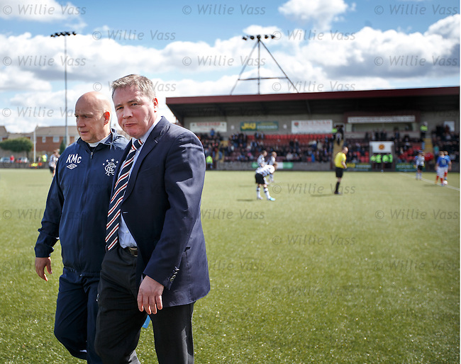 Ally McCoist and Kenny McDowall walking across the Ochilview plastic pitch to take their seats in the dugout for the start of the second half, Only problem is that I'm in their seats, oops.