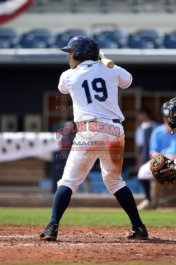 Charlotte Stone Crabs catcher Armando Araiza (19) at bat during a game against the Daytona Tortugas on April 14, 2015 at Charlotte Sports Park in Port Charlotte, Florida.  Charlotte defeated Daytona 2-0.  (Mike Janes/Four Seam Images)