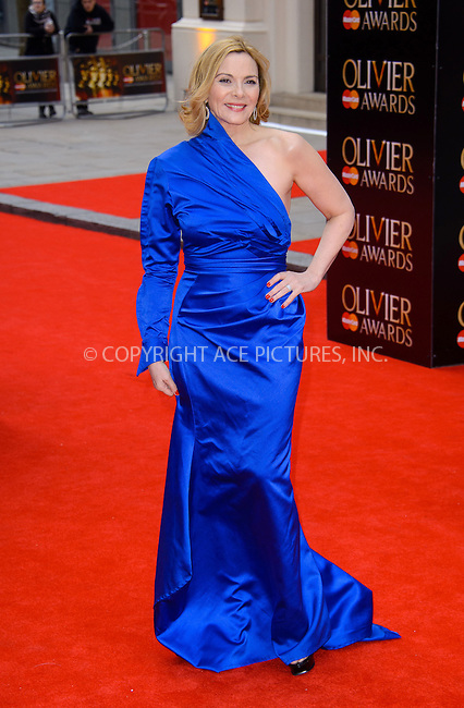 WWW.ACEPIXS.COM....US Sales Only....April 28 2013, New York City....Kim Cattrall at The Olivier Awards held at the Royal Opera House on April 28 2013  in London ....By Line: Famous/ACE Pictures......ACE Pictures, Inc...tel: 646 769 0430..Email: info@acepixs.com..www.acepixs.com
