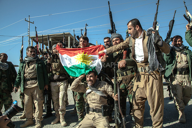 13/11/2015-- Iraq,Sinjar -- Peshmarga fighters celebrating the liberation of Sinjar.