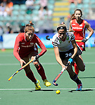 The Hague, Netherlands, June 13: Hannah Gablac #26 of Germany dribbles the ball during the field hockey placement match (Women - Place 7th/8th) between Korea and Germany on June 13, 2014 during the World Cup 2014 at Kyocera Stadium in The Hague, Netherlands. Final score 4-2 (2-0)  (Photo by Dirk Markgraf / www.265-images.com) *** Local caption ***