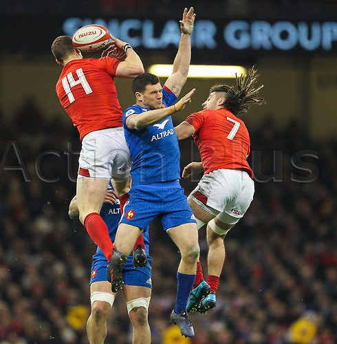 17th March 2018, Principality Stadium, Cardiff, Wales; NatWest Six Nations rugby, Wales versus France; George North of Wales wins the ball ahead of Remy Grosso of France