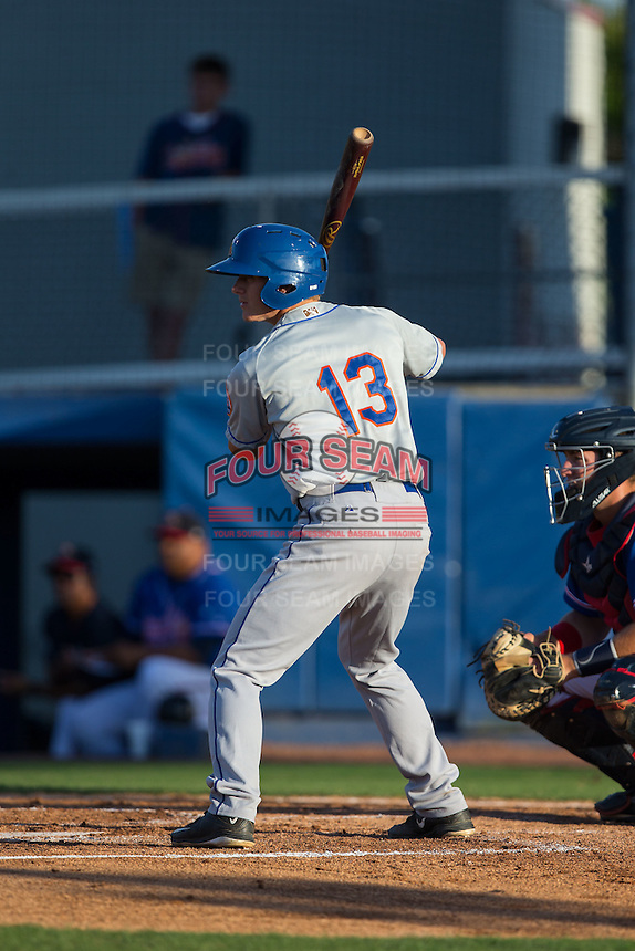Reed Gamache (13) of the Kingsport Mets at bat against the Danville Braves at American Legion Post 325 Field on July 9, 2016 in Danville, Virginia.  The Mets defeated the Braves 10-8.  (Brian Westerholt/Four Seam Images)