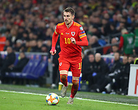 19th November 2019; Cardiff City Stadium, Cardiff, Glamorgan, Wales; European Championships 2020 Qualifiers, Wales versus Hungary; Aaron Ramsey of Wales breaks up the wing - Editorial Use