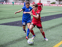Seattle, WA - Saturday Aug. 27, 2016: Nahomi Kawasumi, Meghan Klingenberg during a regular season National Women's Soccer League (NWSL) match between the Seattle Reign FC and the Portland Thorns FC at Memorial Stadium.