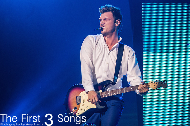 Nick Carter of the Backstreet Boys performs at Riverbend Music Center in Cincinnati, Ohio.