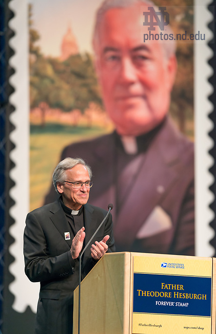 September 1, 2017; First-Day-of-Issue Dedication Ceremony. Father Theodore Hesburgh Forever Stamp. (Photo by Barbara Johnston/University of Notre Dame)