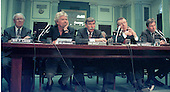 Washington, DC - June 4, 1997 - Aviation Industry Executives appear on a panel before the United States Senate Commerce, Science and Transportation Subcommittee hearing on the US - Britain aviation negotiations.  From left to right: Sir Freddie Laker, Director, Laker Airways;  Richard Branson, CEO - Virgin Atlantic Air; Stephen Wolf, CEO - US Airways; Robert Crandall, CEO - AMR (American Airlines); and Robert Ayling, CEO - British Airways.<br /> Credit: Ron Sachs / CNP