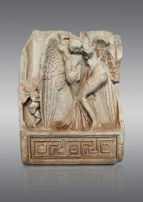Roman Sebasteion relief  sculpture of Leda and swan, Aphrodisias Museum, Aphrodisias, Turkey. <br /> <br /> Zeus disguised as a swan assaults Spartan princess Leda. The bird stands on the tips of its outspread wings and presses its webbed foot on the thigh of modest, struggling Leda. The swan is supported from behind a small Eros. From this encounter came a large egg from which were born Helen and the Dionskouroi twins, Kastor and Polydeukes
