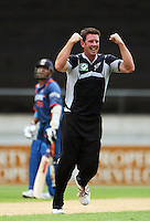 Ian Butler celebrates dismissing Virender Sehwag during the 2nd ODI cricket match between the New Zealand Black Caps and India at Westpac Stadium, Wellington, New Zealand on Friday, 6 March 2009. Photo: Dave Lintott / lintottphoto.co.nz