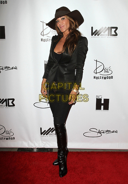 Robin Antin.The World's Most Beautiful Magazine Launch Event held at Drai's in Hollywood, California, USA..August 10th, 2011.full length black jacket blazer hat trousers  boots.CAP/ADM/KB.©Kevan Brooks/AdMedia/Capital Pictures.