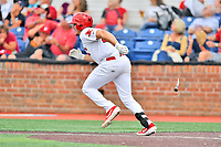 Johnson City Cardinals Chandler Redmond (25) runs to first base during a game against the Kingsport Mets at TVA Credit Union Ballpark on June 28, 2019 in Johnson City, Tennessee. The Cardinals defeated the Mets 7-4. (Tony Farlow/Four Seam Images)