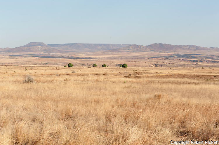 Plains of the savannah and huge granite mountains known as inselbergs, near Isalo National Park