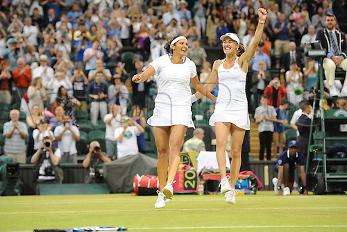 11.07.2015. Wimbledon, England. The Wimbledon Tennis Championships. Ladies Doubles Final between Martina Hingis (SUI) and Sania Mirza (IND) celebrate their win versus Ekaterina Makarova (RUS) and Elena Vesnina (RUS).