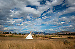 Tipee on an open plain at the flatheadIndian REservation in Montana, USA