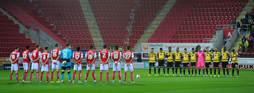 Rotherham United and Norwich City players observe a minutes silence in memory of those who lost their lives in the Shoreham air disaster<br /> <br /> Photographer Chris Vaughan/CameraSport<br /> <br /> Football - Capital One Cup Second Round - Rotherham United v Norwich - Tuesday 25th August 2015 - New York Stadium - Rotherham<br />  <br /> &copy; CameraSport - 43 Linden Ave. Countesthorpe. Leicester. England. LE8 5PG - Tel: +44 (0) 116 277 4147 - admin@camerasport.com - www.camerasport.com