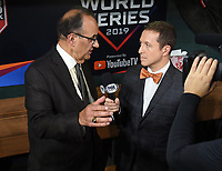HOUSTON - OCTOBER 29: Ken Rosenthal speaks to Joe Torre following World Series Game 6: Washington Nationals at Houston Astros on Fox Sports at Minute Maid Park on October 29, 2019 in Houston, Texas. (Photo by Frank Micelotta/Fox Sports/PictureGroup)