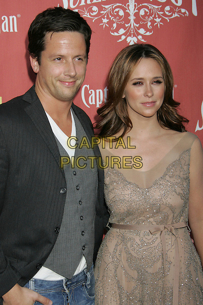 ROSS McCALL & JENNIFER LOVE HEWITT.Spike TV's 2nd Annual Scream Awards held at The Greek Theater, Los Angeles, California, USA..October 19th, 2007.half length dress beige silver cream sleeveless couple grey gray waistcoat jacket .CAP/ADM/RE.©Russ Elliot/AdMedia/Capital Pictures.