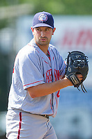 Hagerstown Suns relief pitcher Robert Orlan (40) looks to his catcher for the sign against the Kannapolis Intimidators at CMC-Northeast Stadium on June 1, 2014 in Kannapolis, North Carolina.  The Intimidators defeated the Suns 5-1 in game one of a double-header.  (Brian Westerholt/Four Seam Images)