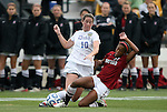 04 December 2011: Stanford's Lindsay Taylor (17) tackles the ball away from Duke's Nicole Lipp (10). The Stanford University Cardinal defeated the Duke University Blue Devils 1-0 at KSU Soccer Stadium in Kennesaw, Georgia in the NCAA Division I Women's Soccer College Cup Final.