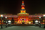 Christmas lights brighten the Denver City & County Building, in the Civic Center Park, Denver, Colorado.
