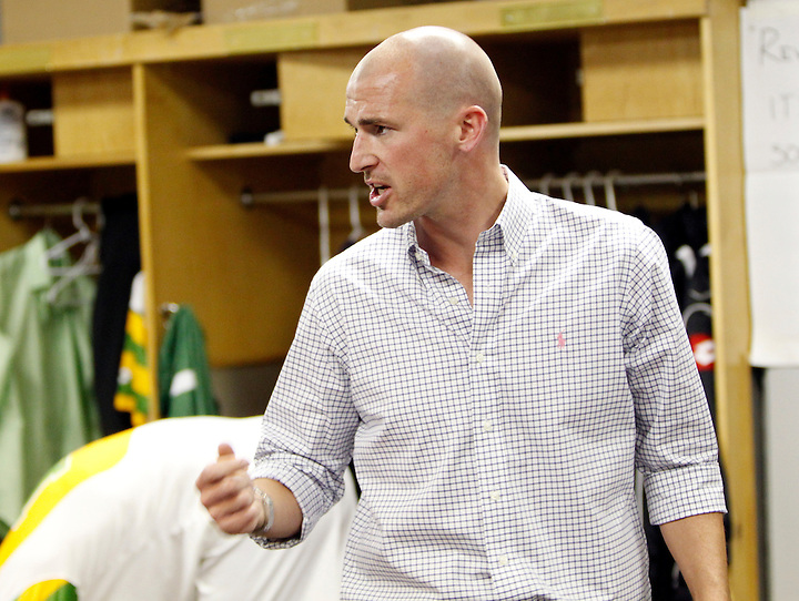 May 27, 2010; TAMPA, FLORIDA: Head Coach Paul Dalglish of FC Tampa Bay Rowdies addresses his team in the locker room prior to a  3-1 victory over the Minnesota Stars at Steinbrenner Field in Tampa, Florida. Photo by Matt May/FC Tampa Bay Rowdies