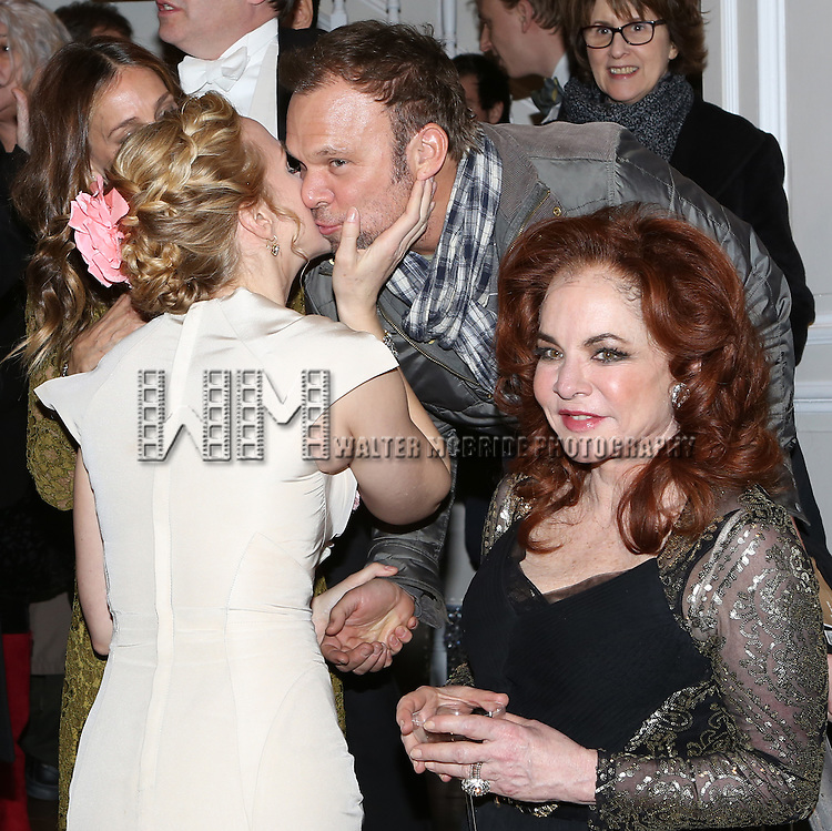 Katie Finneran, Norbert Leo Butz and Stockard Channing attends the re-opening night performance backstage reception for 'It's Only A Play' at the Bernard B. Jacobs Theatre on January 23, 2014 in New York City.