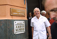 Former US President Jimmy Carter and his wife Rosalynn as leaving the Hotel Ambos Mundos where writer Ernest Hemingway used to stay, during a tour through Old Havana, on the first day of Carters six day visit to Cuba,on May12, 2002. Invited for cuban President Fidel Castro. Credit: Jorge Rey/MediaPunch