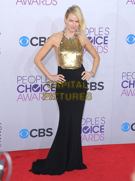 Naomi Watts.The 2013 People's Choice Awards held at Nokia Live in Los Angeles, California 9th January 2013                                                                   .full length gold sleeveless sequins sequined collar embellished jewel encrusted top skirt black hands on hips  halterneck .CAP/DVS.©DVS/Capital Pictures.