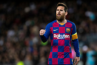 5th November 2019; Camp Nou, Barcelona, Catalonia, Spain; UEFA Champions League Football, Barcelona versus Slavia Prague; Lionel Messi thinks his team has made a break though during round 4 of UEFA Champions League match against Slavia Praga - Editorial Use