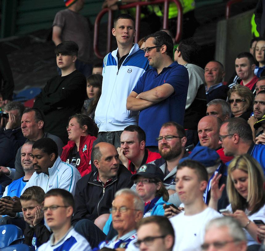 Blackburn Rovers fans during the second half<br /> <br /> Photographer Chris Vaughan/CameraSport<br /> <br /> Football - The Football League Sky Bet Championship - Huddersfield Town v Blackburn Rovers - Saturday 15th August 2015 - The John Smith's Stadium - Huddersfield<br /> <br /> &copy; CameraSport - 43 Linden Ave. Countesthorpe. Leicester. England. LE8 5PG - Tel: +44 (0) 116 277 4147 - admin@camerasport.com - www.camerasport.com
