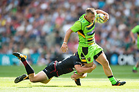Alex Waller of Northampton Saints is tackled by Alex Goode of Saracens. Aviva Premiership match, between Saracens and Northampton Saints on September 2, 2017 at Twickenham Stadium in London, England. Photo by: Patrick Khachfe / JMP