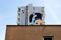 Nederland Amsterdam 2019 . De Bijlmer. Muurschildering van de kunstenaar Speto op een huizenblok in de H-Buurt. Foto Berlinda van Dam / Hollandse Hoogte