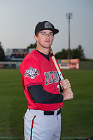 Billings Mustangs outfielder Mike Spooner (35) poses for a photo prior to a Pioneer League game against the Idaho Falls Chukars at Melaleuca Field on August 22, 2018 in Idaho Falls, Idaho. The Idaho Falls Chukars defeated the Billings Mustangs by a score of 5-3. (Zachary Lucy/Four Seam Images)