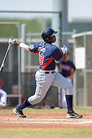 Cleveland Indians outfielder Hector Caro (28) during an Instructional League game against the Kansas City Royals on October 9, 2013 at Surprise Stadium Training Complex in Surprise, Arizona.  (Mike Janes/Four Seam Images)