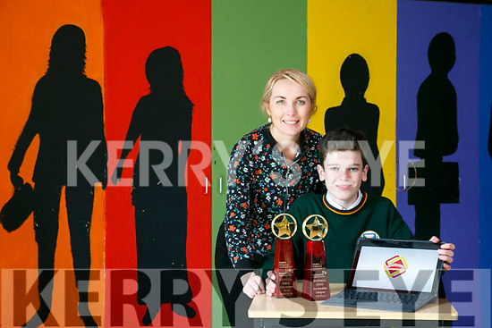 """Dylan Mangan from Killorglin Community College secured the """"Most Creative Use of  Social Media"""" Award at the Student Enterprise awards with his web site Grandparents Memories.com last week. Pictured with Business Studies Teacher Sive Fitzgerald"""