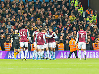 30th October 2019; Villa Park, Birmingham, Midlands, England; English Football League Cup, Carabao Cup, Aston Villa versus Wolverhampton Wanderers; Anwar El Ghazi of Aston Villa celebrates with his team after scoring past Wolverhampton Wanderers Goalkeeper John Ruddy 0-1 in the 28th minute - Strictly Editorial Use Only. No use with unauthorized audio, video, data, fixture lists, club/league logos or 'live' services. Online in-match use limited to 120 images, no video emulation. No use in betting, games or single club/league/player publications