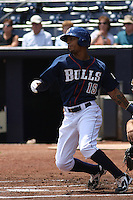 Durham Bulls outfielder Desmond Jennings #15 at bat during a game versus the Louisville Batts at Durham Bulls Athletic Park in Durham, North Carolina on May 18, 2011. Durham defeated Louisville by the score of 7-4.   Photo By Robert Gurganus/Four Seam Images