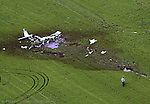 The scene of a fatal plane crash at Vandenberg Airport. It was reported that three people died in the crash which was on a mission for Angel Flight.