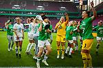 01.05.2019, RheinEnergie Stadion , Köln, GER, DFB Pokalfinale der Frauen, VfL Wolfsburg vs SC Freiburg, DFB REGULATIONS PROHIBIT ANY USE OF PHOTOGRAPHS AS IMAGE SEQUENCES AND/OR QUASI-VIDEO<br /> <br /> im Bild | picture shows:<br /> Ella Masar McLeod (VfL Wolfsburg #30) und Mary Earps (VfL Wolfsburg #27) jubeln mit dem Pokal, <br /> <br /> Foto © nordphoto / Rauch